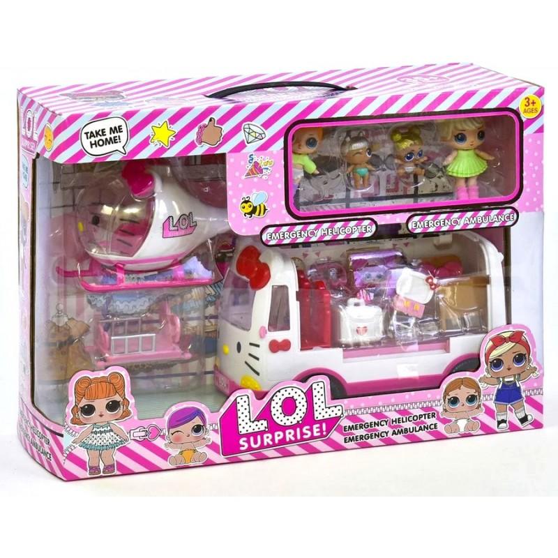 Игровой набор LOL - Вертолет, машина скорой помощи, 4 куклы (арт. K5621)