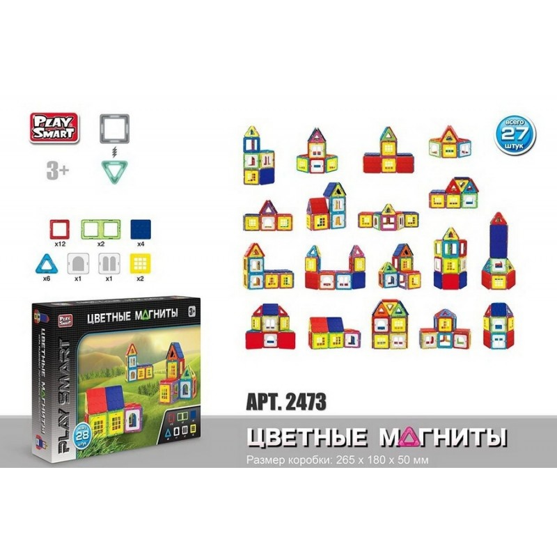 Магнитный конструктор - Домики, 28 деталей (Play Smart 2473)