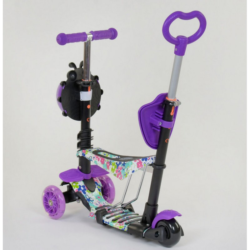 Cамокат 3-х колёсный  5 в 1 Абстракция, подсветка колес (Best Scooter 68995)