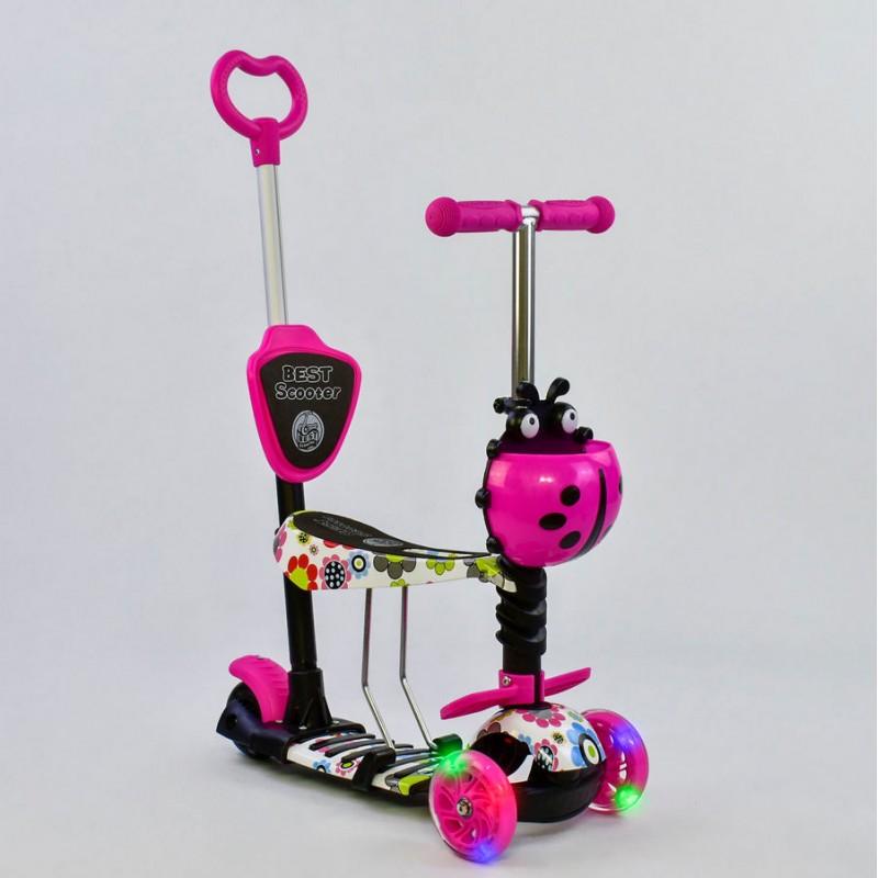 Cамокат 3-х колёсный  5 в 1 Абстракция, подсветка колес (Best Scooter 74230)