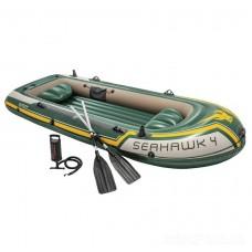 Четырехместная надувная лодка Seahawk 4 Set с веслами и насосом (Intex 68351)