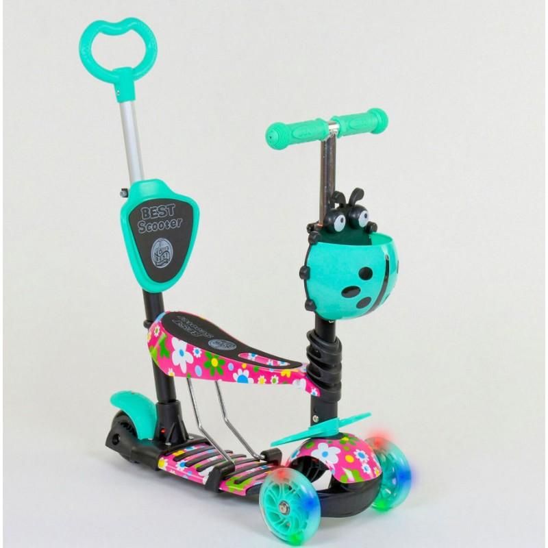 Cамокат 3-х колёсный  5 в 1, подсветка колес, Абстракция (Best Scooter 43702)
