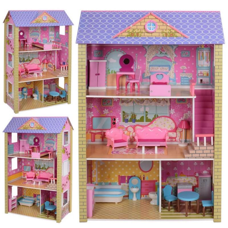Деревянный трехэтажный домик для кукол с мебелью (арт. MD2009)