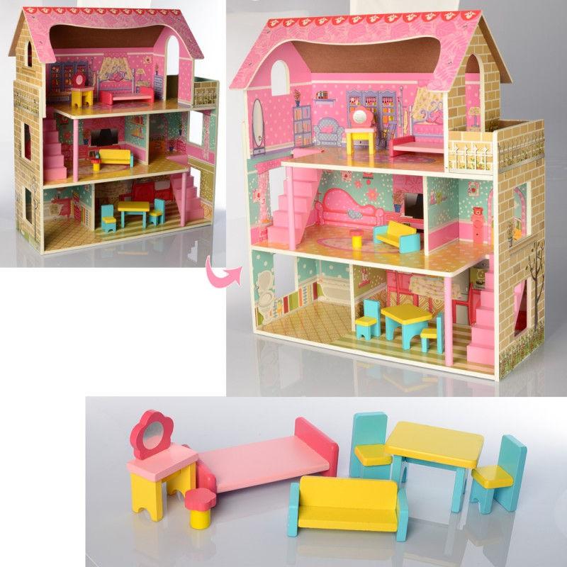 Деревянный трехэтажный домик для кукол с мебелью (арт. MD2203)