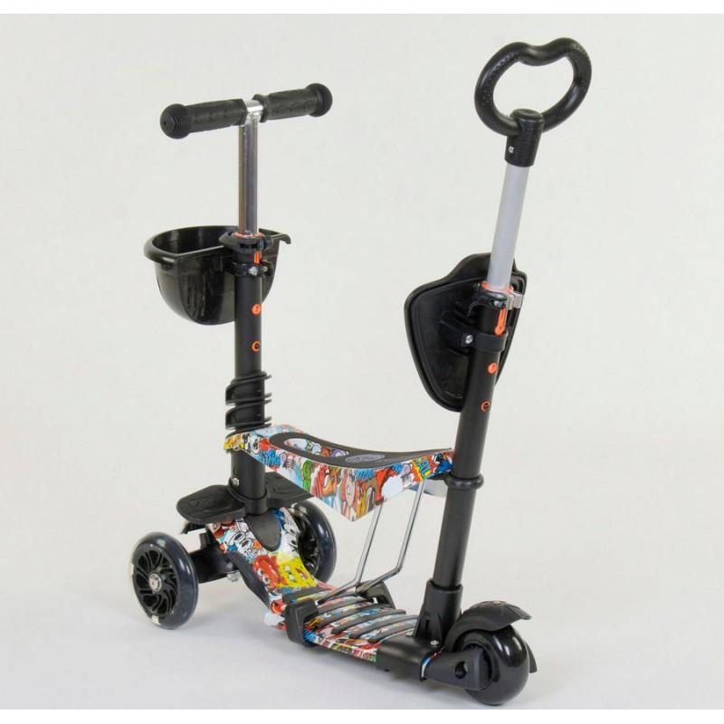 Cамокат 3-х колёсный  5 в 1 Абстракция, подсветка колес (Best Scooter 34760)