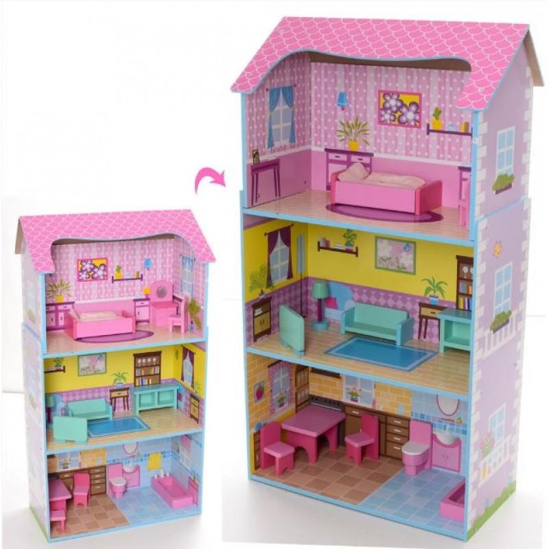 Деревянный трехэтажный домик для кукол с мебелью (арт. MD2202)
