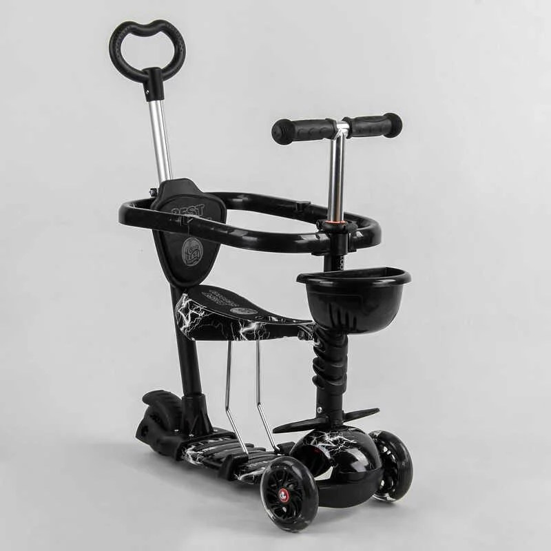 Детский самокат 5в1, Абстракция, с защитным бампером, PU колеса с подсветкой (Best Scooter S0452)