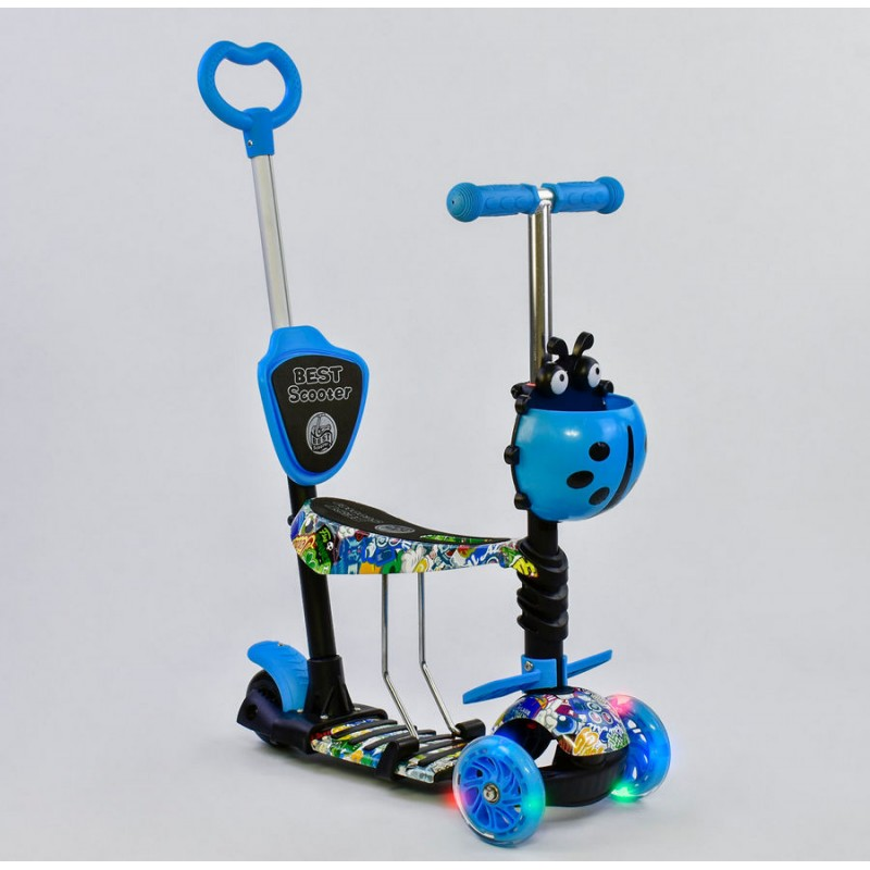 Cамокат 3-х колёсный  5 в 1 Абстракция, подсветка колес (Best Scooter 69750)