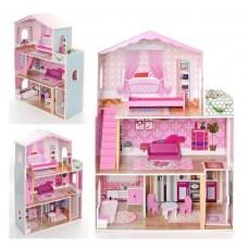Деревянный трехэтажный домик для кукол с мебелью (арт. MD2098)