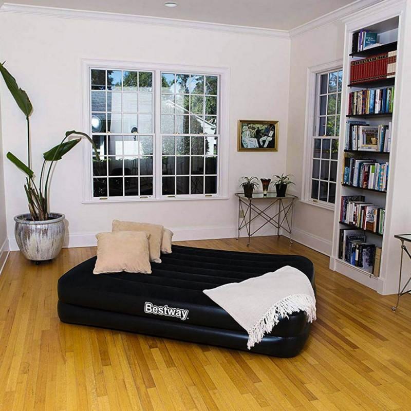 Двухспальный надувной матрас с подголовником и встроенным электронасосом (Bestway 67403)