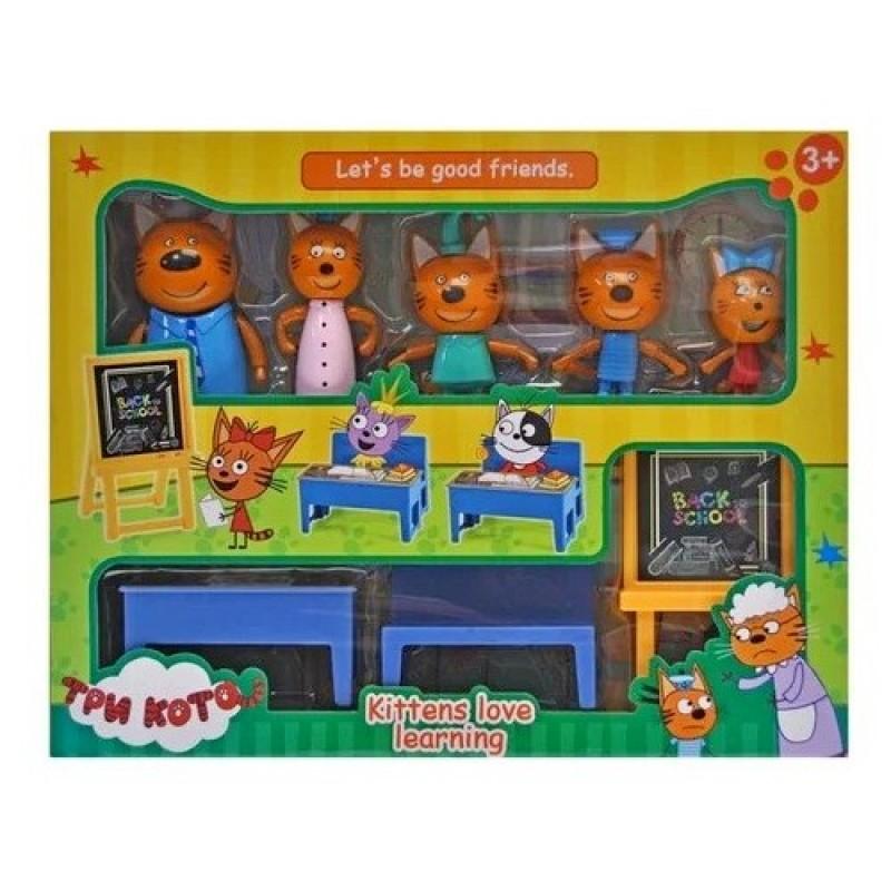 Игровой набор с фигурками - Три кота в школе - 5 персонажей (арт. M-8812)