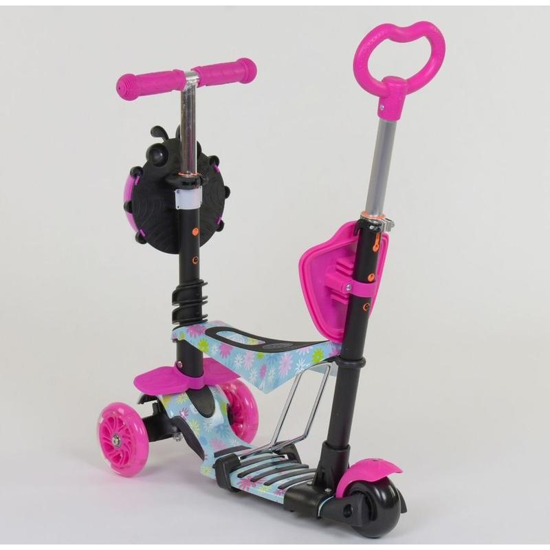 Cамокат 3-х колёсный  5 в 1, подсветка колес, Абстракция (Best Scooter 11210)