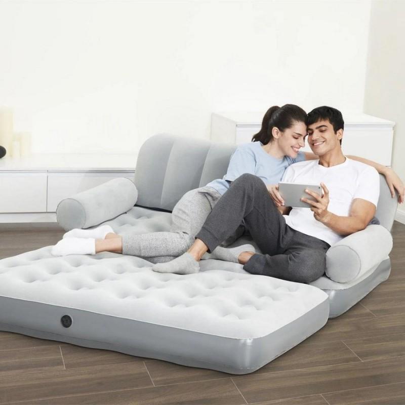 Надувной велюровый диван с электронасосом (Bestway 75073)