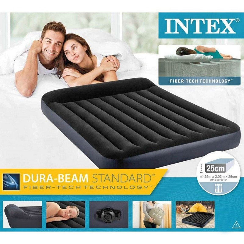 Матрас надувной двуспальный с подголовником (Intex 64143)