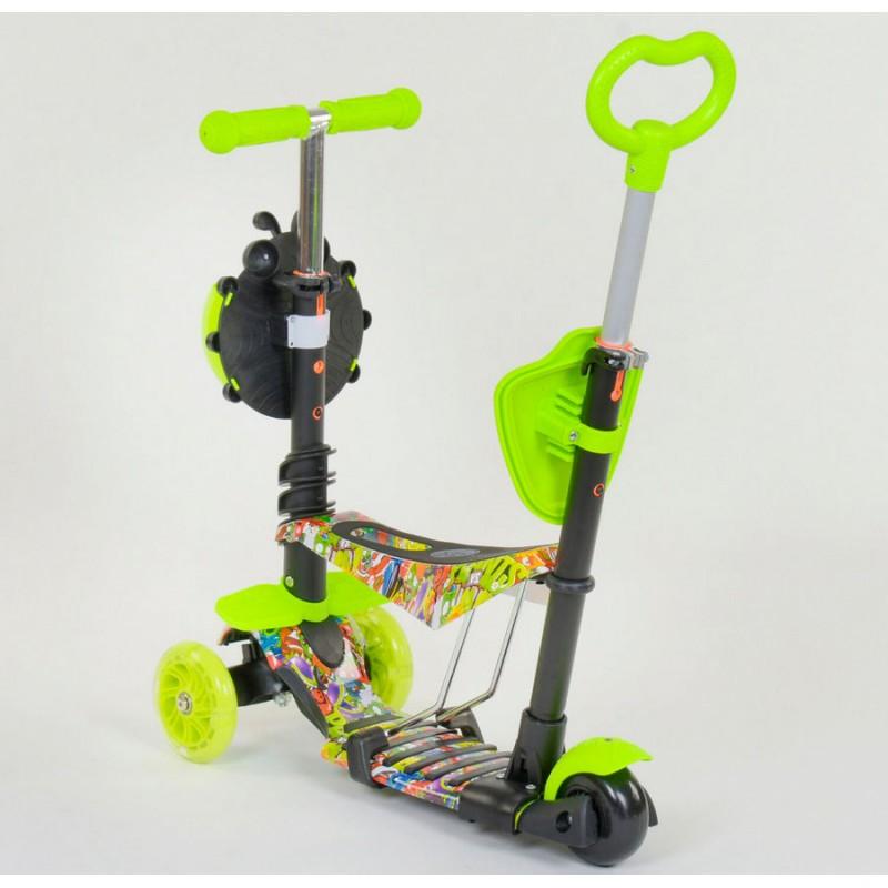 Cамокат 3-х колёсный  5 в 1 Абстракция, подсветка колес (Best Scooter 55945)