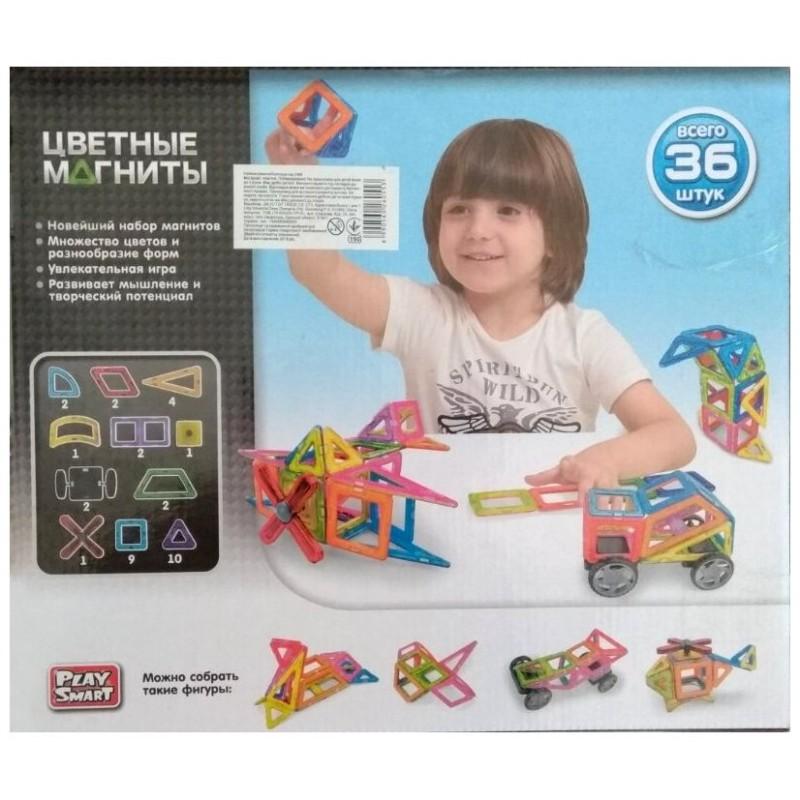 Магнитный конструктор - Цветные магниты 36 деталей (Play Smart 2466)