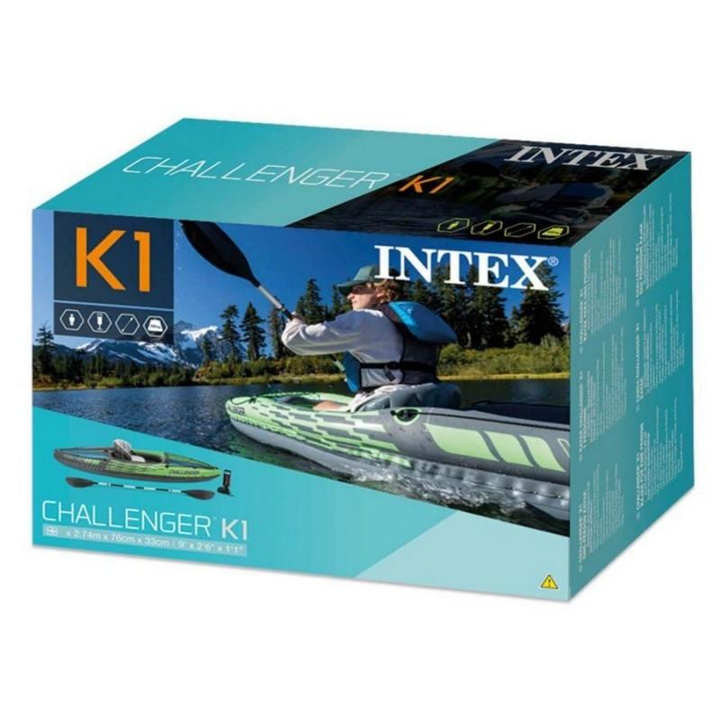 Одноместная надувная байдарка - каяк - с веслами и насосом (Intex 68305)