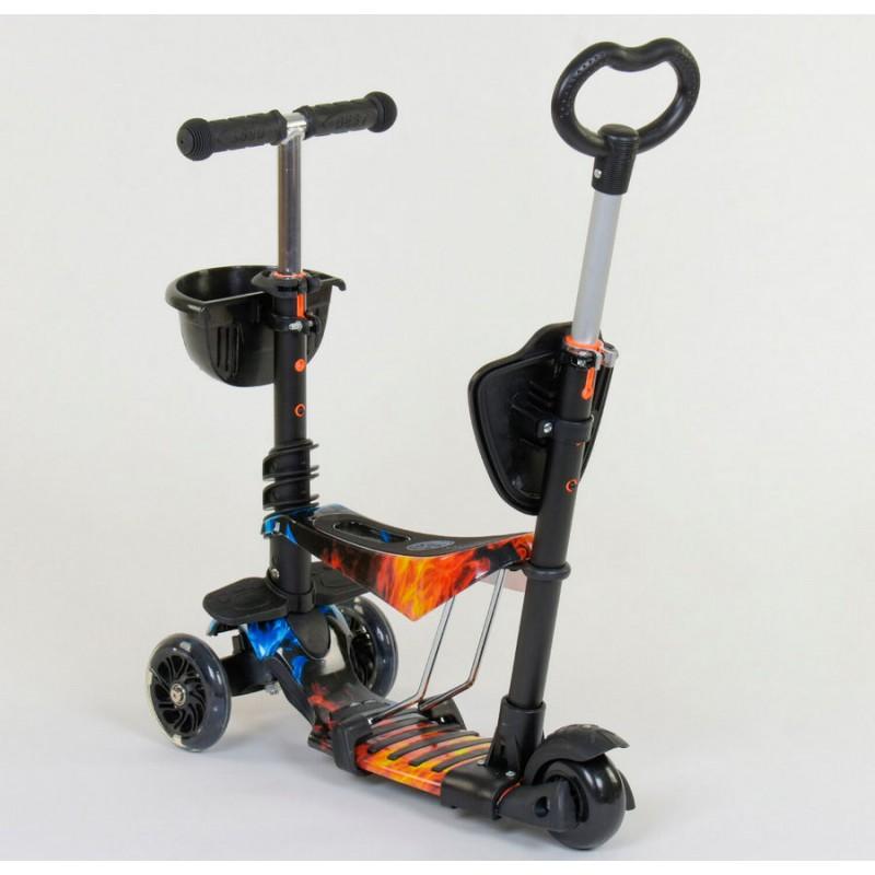 Cамокат 3-х колёсный  5 в 1, подсветка колес, Абстракция (Best Scooter 21500)