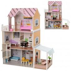 Деревянный трехэтажный домик для кукол с мебелью, лифтом (арт. MD2150)
