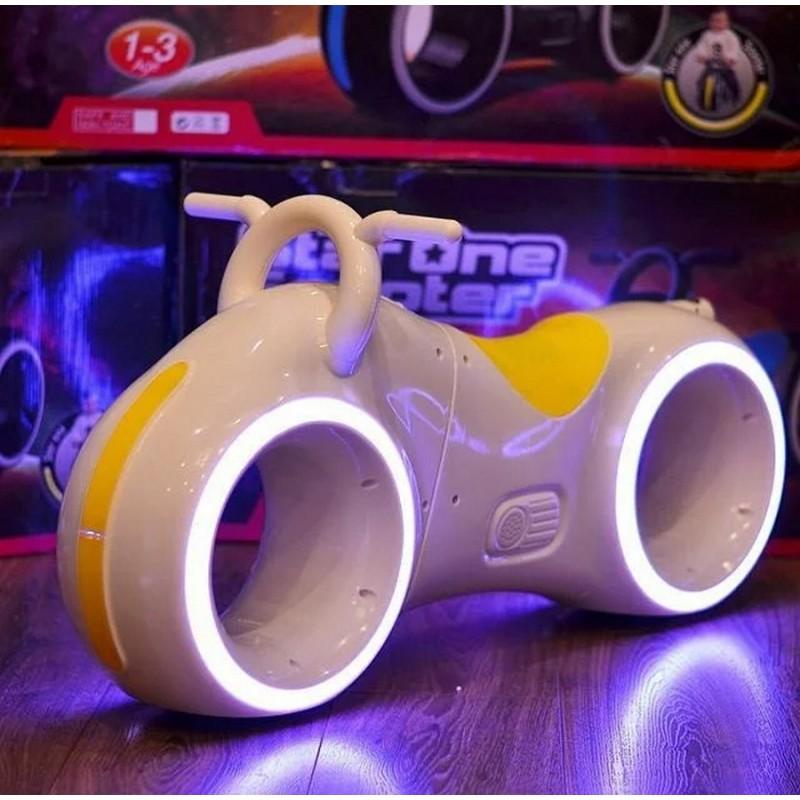 Беговел - Космо-Байк с динамиками, Bluetooth и LED-подсветкой, White/Yellow (Tilly GS-0020)