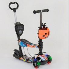 Cамокат 3-х колёсный  5 в 1, подсветка колес, Абстракция (Best Scooter 15600)