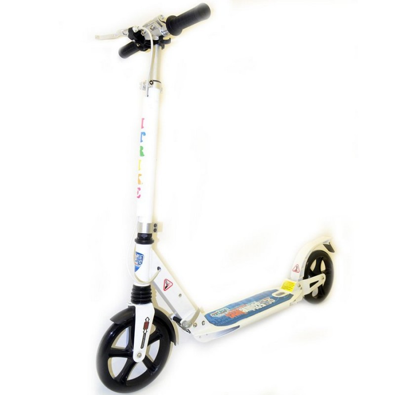 Самокат RiderZ Urban Scooter, ручной тормоз, Белый (iTrike SR2-018-1)