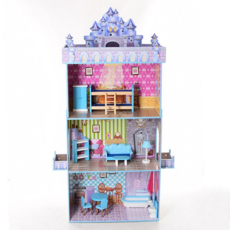 Деревянный трехэтажный домик для кукол с мебелью (арт. MD2410)