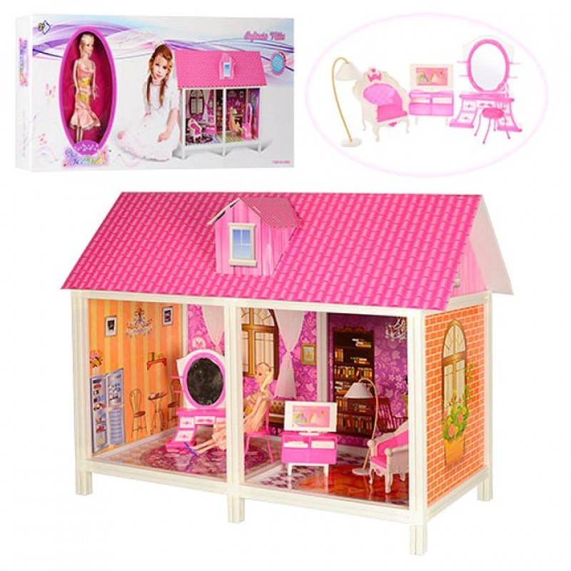 Кукольный Домик для кукoл Барби с куклой и мебелью (арт. 66882)