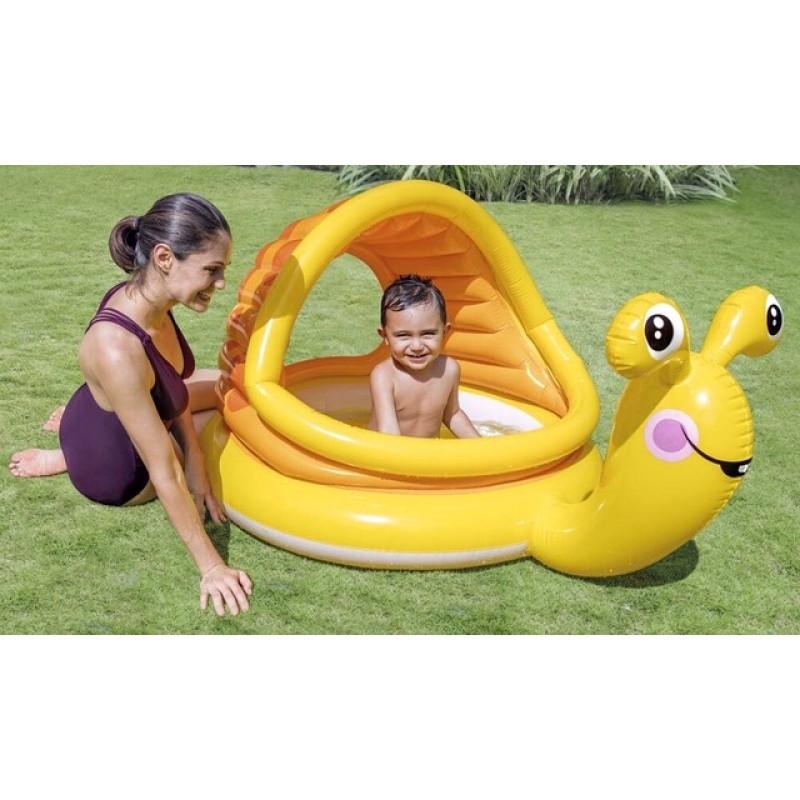 Детский надувной бассейн с навесом - Улитка (Intex 57124)
