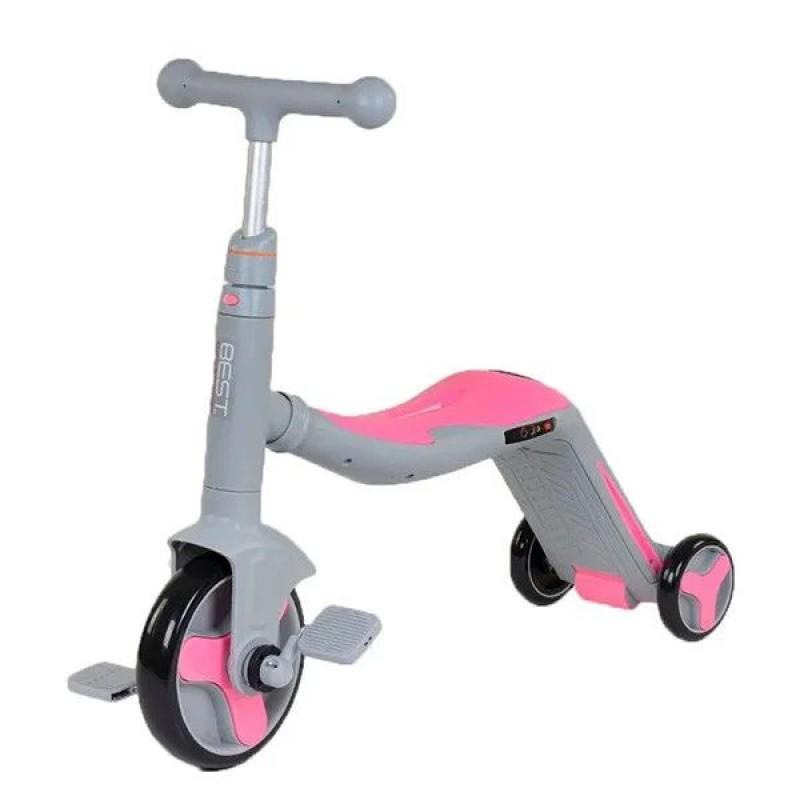 Cамокат трансформер 3 в 1, Серо-розовый (Best Scooter SC20111)