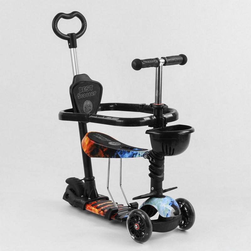 Детский самокат 5в1, Абстракция, с защитным бампером, PU колеса PU колеса с подсветкой (Best Scooter S5203)