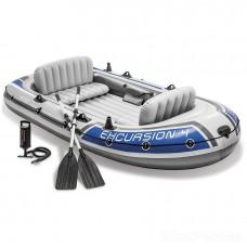 Четырехместная надувная лодка Excursion 4 Set с веслами и насосом (Intex 68324)