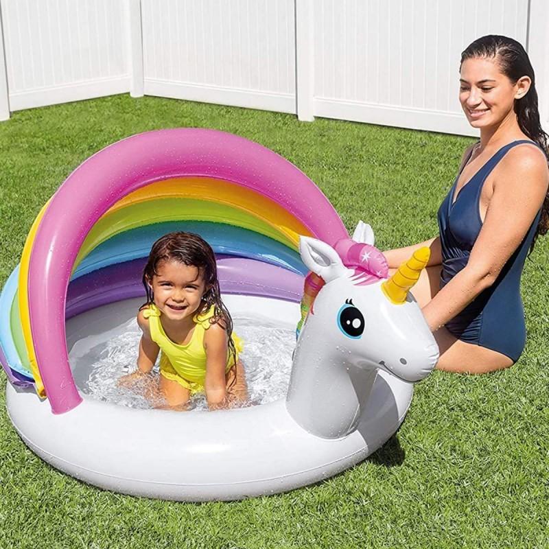 Детский надувной бассейн с навесом - Единорог (Intex 57113)