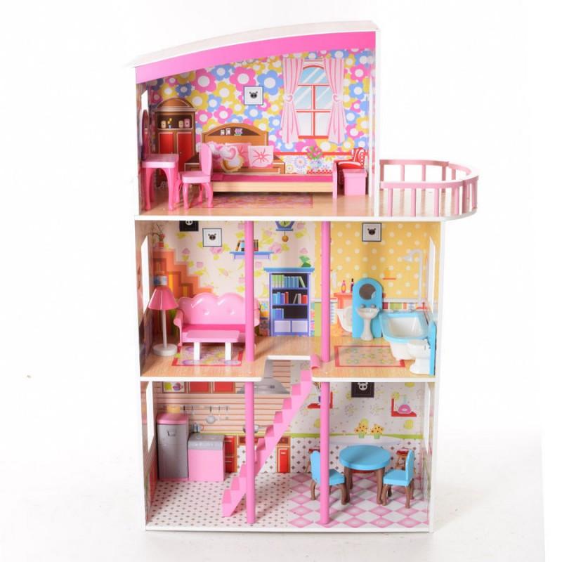 Деревянный трехэтажный домик для кукол с мебелью (арт. MD2411)