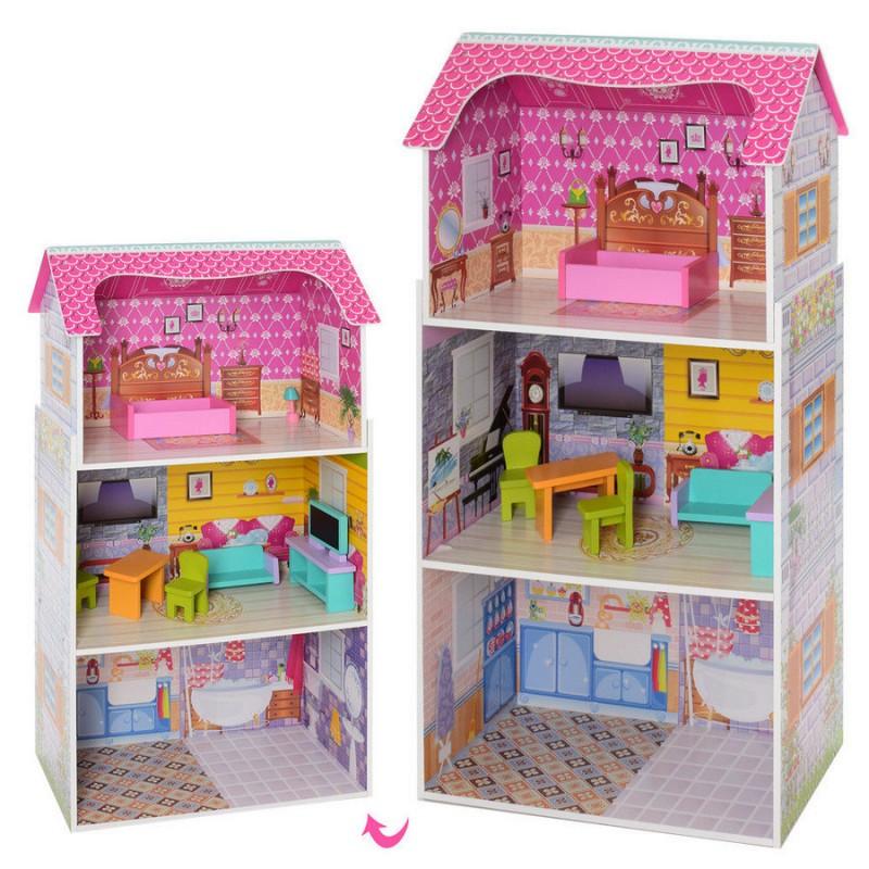 Деревянный трехэтажный домик для кукол с мебелью (арт. MD1549)