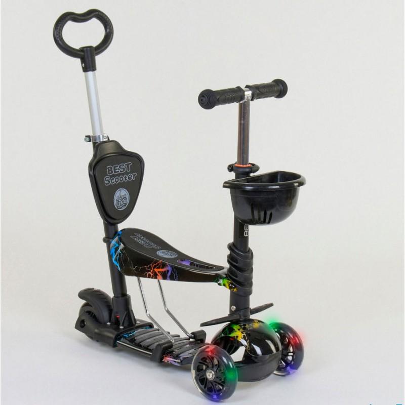 Cамокат 3-х колёсный  5 в 1, подсветка колес, Абстракция (Best Scooter 35110)