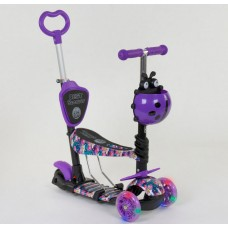 Cамокат 3-х колёсный  5 в 1, подсветка колес, Абстракция (Best Scooter 19870)