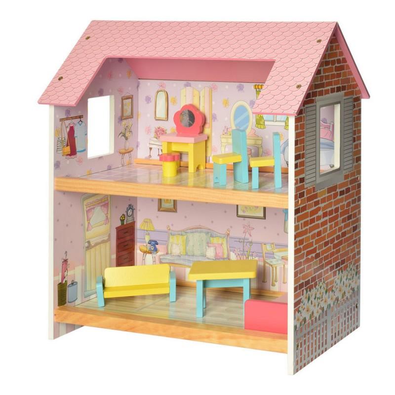 Деревянный двухэтажный домик для кукол с мебелью (арт. MD2048)