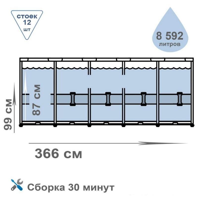 Бассейн каркасный круглый с лестницей, 366 x 99 (Intex 26716)