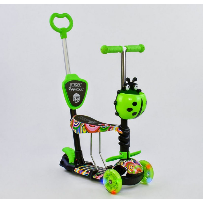 Cамокат 3-х колёсный  5 в 1, подсветка колес, Абстракция (Best Scooter 33650)
