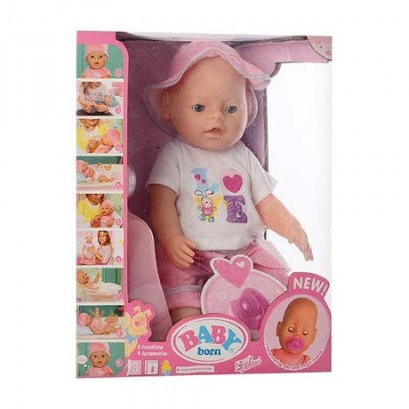 Кукла Baby Born 9 функций, с аксессуарами, аналог (арт. 8006-466)