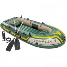 Трехместная надувная лодка Seahawk с веслами и насосом (Intex 68380)