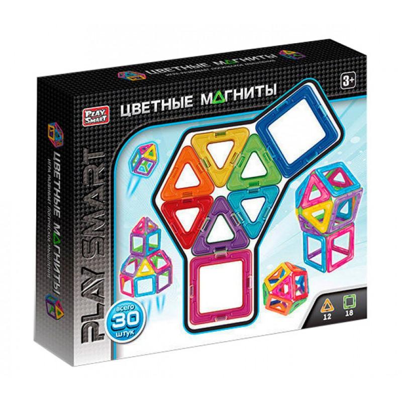 Магнитный конструктор - Цветные магниты 30 деталей (Play Smart 2427)