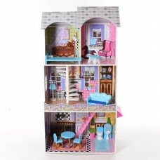 Деревянный трехэтажный домик для кукол с мебелью, лифтом (арт. MD2412)