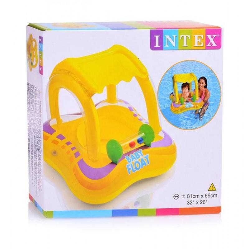 Надувной детский круг-плот с навесом (Intex 56581)