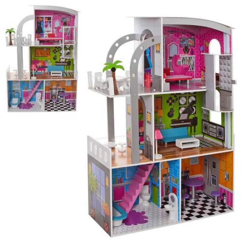 Деревянный трехэтажный домик для кукол с мебелью, лифтом (арт. MD2012)