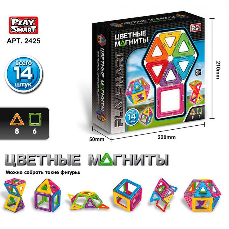 Магнитный конструктор - Цветные магниты 14 деталей (Play Smart 2425)