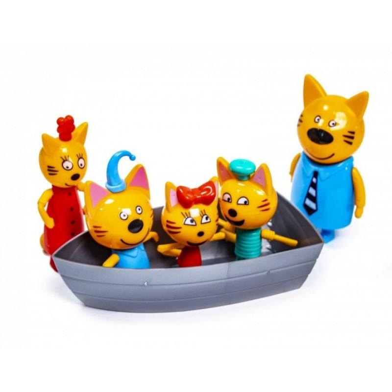 Игровой набор с фигурками - Три кота и лодка (арт. PS658)
