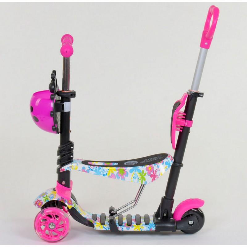 Cамокат 3-х колёсный  5 в 1 Абстракция, подсветка колес (Best Scooter 62310)