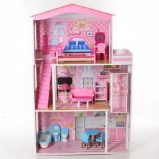 Деревянный трехэтажный домик для кукол с мебелью, лифтом (арт. MD2413)